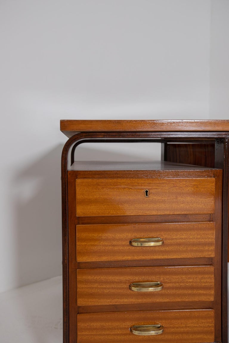 Mid-Century Modern Desk by Giuseppe Pagano in Brass and Wood, Restored 1940s For Sale