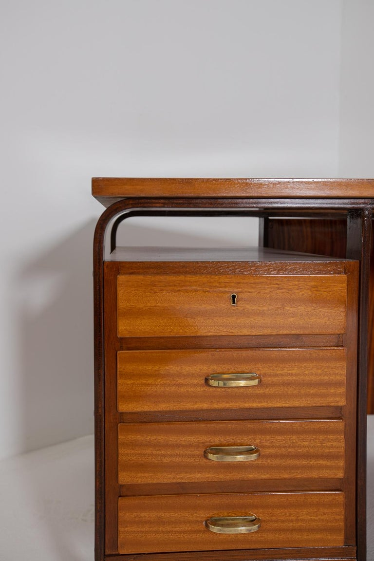 Italian Desk by Giuseppe Pagano in Brass and Wood, Restored 1940s For Sale