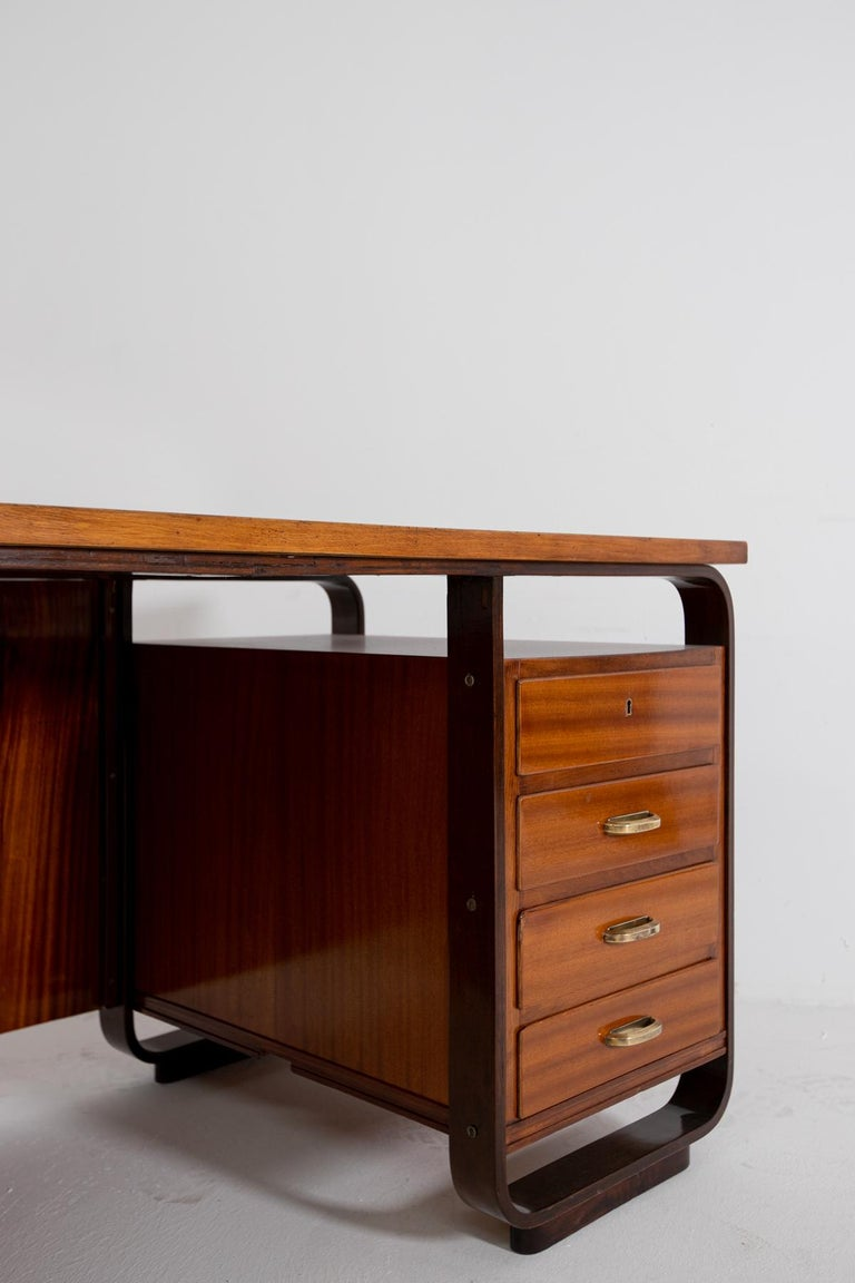 Desk by Giuseppe Pagano in Brass and Wood, Restored 1940s For Sale 2