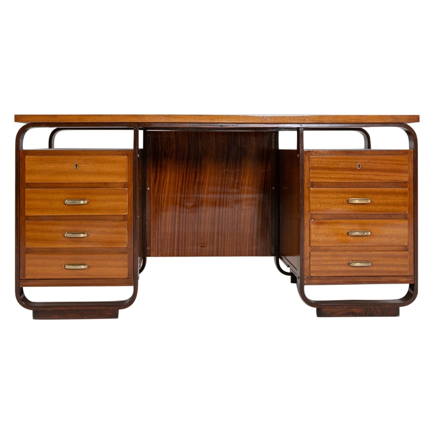 Desk by Giuseppe Pagano in Brass and Wood, Restored 1940s