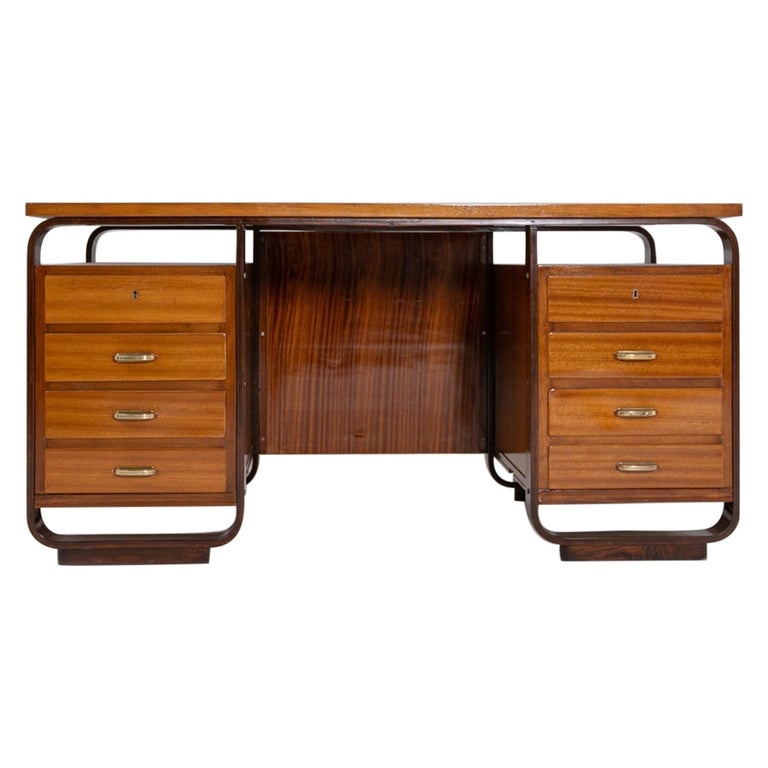 Desk by Giuseppe Pagano in Brass and Wood, Restored 1940s For Sale