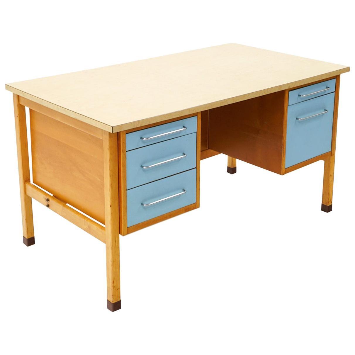 Desk by Jens Risom, Blonde Wood, Blue Drawer Fronts, Chrome Pulls, Laminate Top