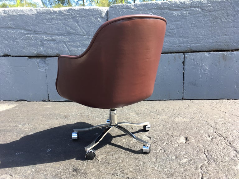 Desk Chair by Nicos Zographos, Leather and Stainless Steel Base In Good Condition For Sale In Opa Locka, FL