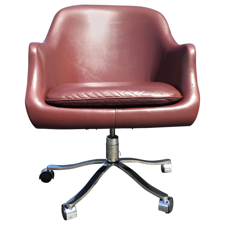 Desk Chair by Nicos Zographos, Leather and Stainless Steel Base For Sale