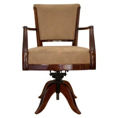 Desk Chair by Roux-Spitz Adjustable Swivel Rosewood Beige French Modernist