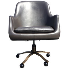 Desk Chair by Nicos Zograthos, Dark Silver Leather and Bronze Base