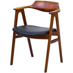 Desk Chair in Teak and Leather by Erik Kirkegaard for Høng Stolefabrik, 1950s
