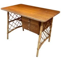 Desk circa 1960 in Banbou, Rattan and Oak Veneer