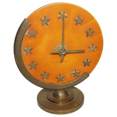 Desk Clock by Seth Thomas, Brass Details, C 1950
