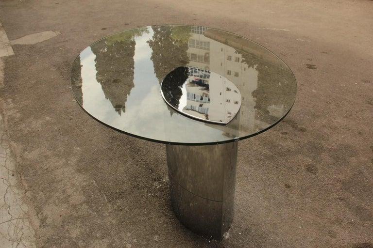 Desk Dining Table Oval Cini Boeri for Gavina 1970 Lunario Steel Crystal Italian For Sale 7