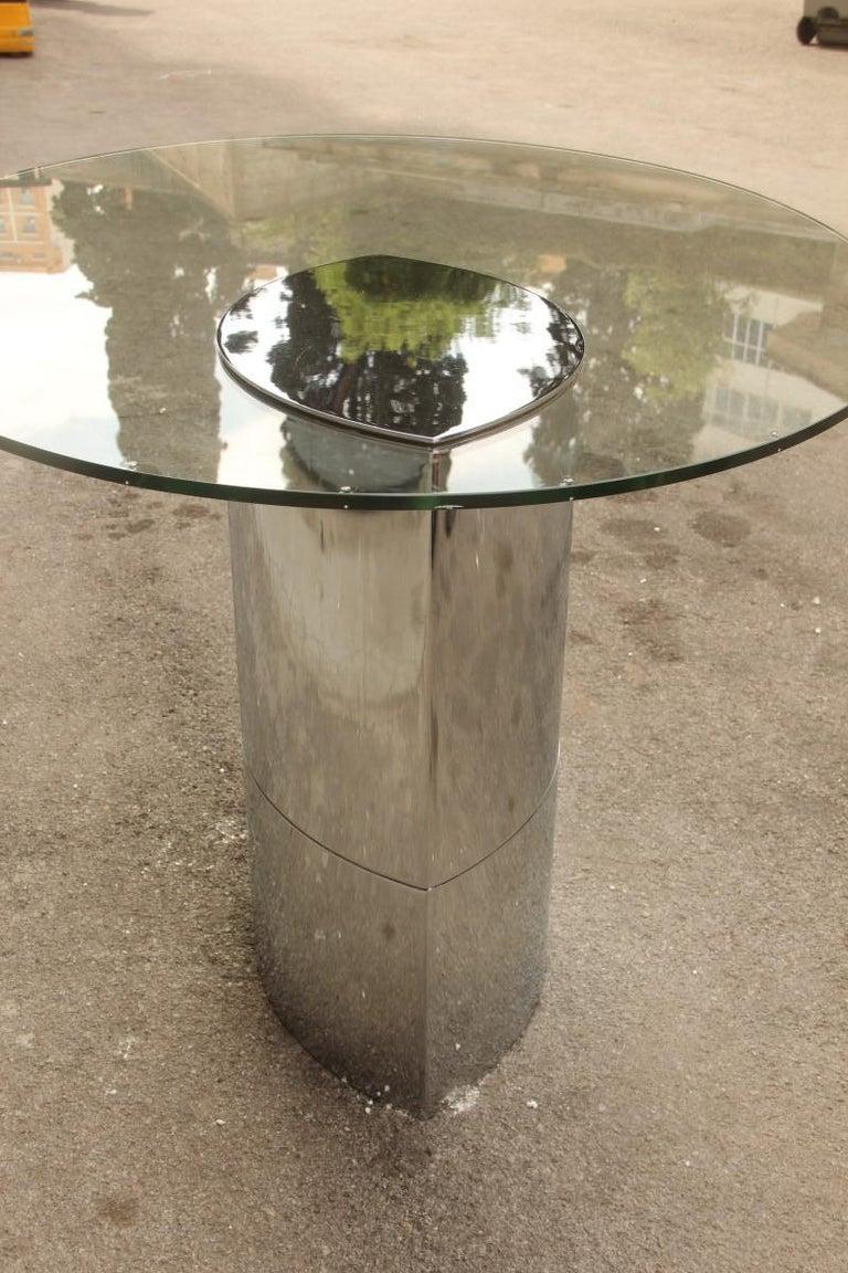 Desk Dining Table Oval Cini Boeri for Gavina 1970 Lunario Steel Crystal Italian For Sale 8