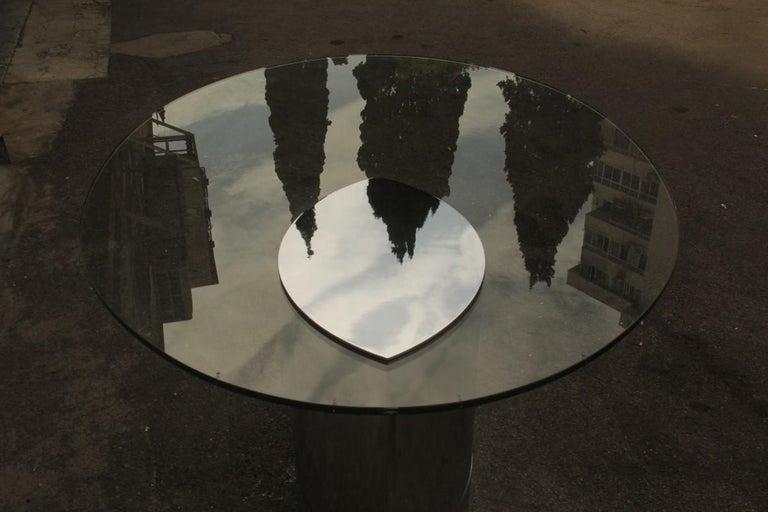 Desk Dining Table Oval Cini Boeri for Gavina 1970 Lunario Steel Crystal Italian For Sale 10