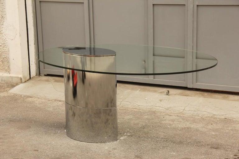 Desk Dining Table Oval Cini Boeri for Gavina 1970 Lunario Steel Crystal Italian For Sale 11