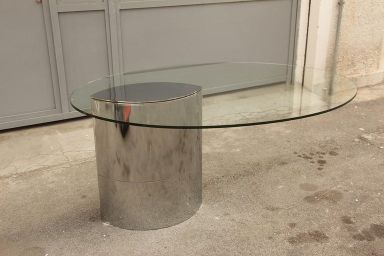 Desk Dining Table Oval Cini Boeri For Gavina 1970 Lunario Steel Crystal Italian .  Famous Cini Boeri table Produced from the now-closed cockpit,  original from its 1970s, very thick tempered glass,  beautiful as a desk, Minimalist and very