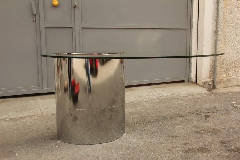 Mid-Century Modern Desk Dining Table Oval Cini Boeri for Gavina 1970 Lunario Steel Crystal Italian For Sale