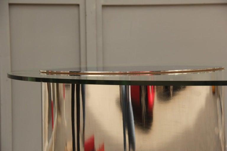 Desk Dining Table Oval Cini Boeri for Gavina 1970 Lunario Steel Crystal Italian In Good Condition For Sale In Palermo, Sicily