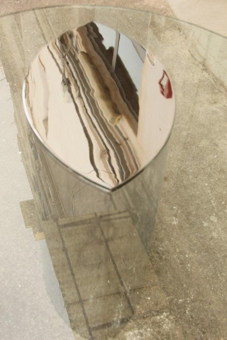 Desk Dining Table Oval Cini Boeri for Gavina 1970 Lunario Steel Crystal Italian For Sale 3