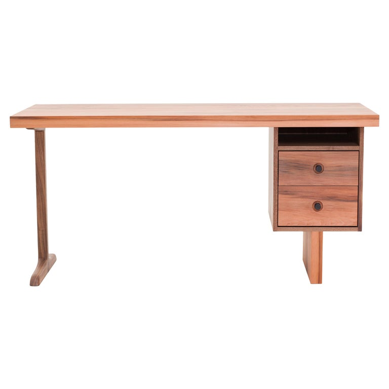 Desk from NYC Reclaimed Water Tower Wood, Drawers with Hand Turned Ebony Pulls For Sale