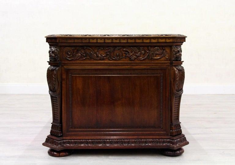 Antiker Herrenzimmer Schreibtisch mit Klauenfüßen 4