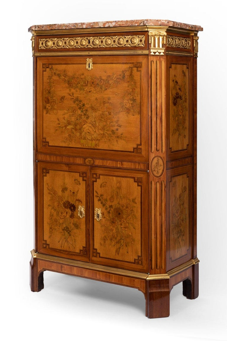 Desk in Flower Marquetry, Louis XVI Period, Stamped C. Topino, 18th Century For Sale 9