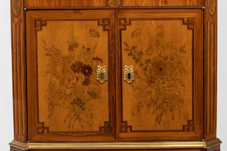 French Desk in Flower Marquetry, Louis XVI Period, Stamped C. Topino, 18th Century For Sale