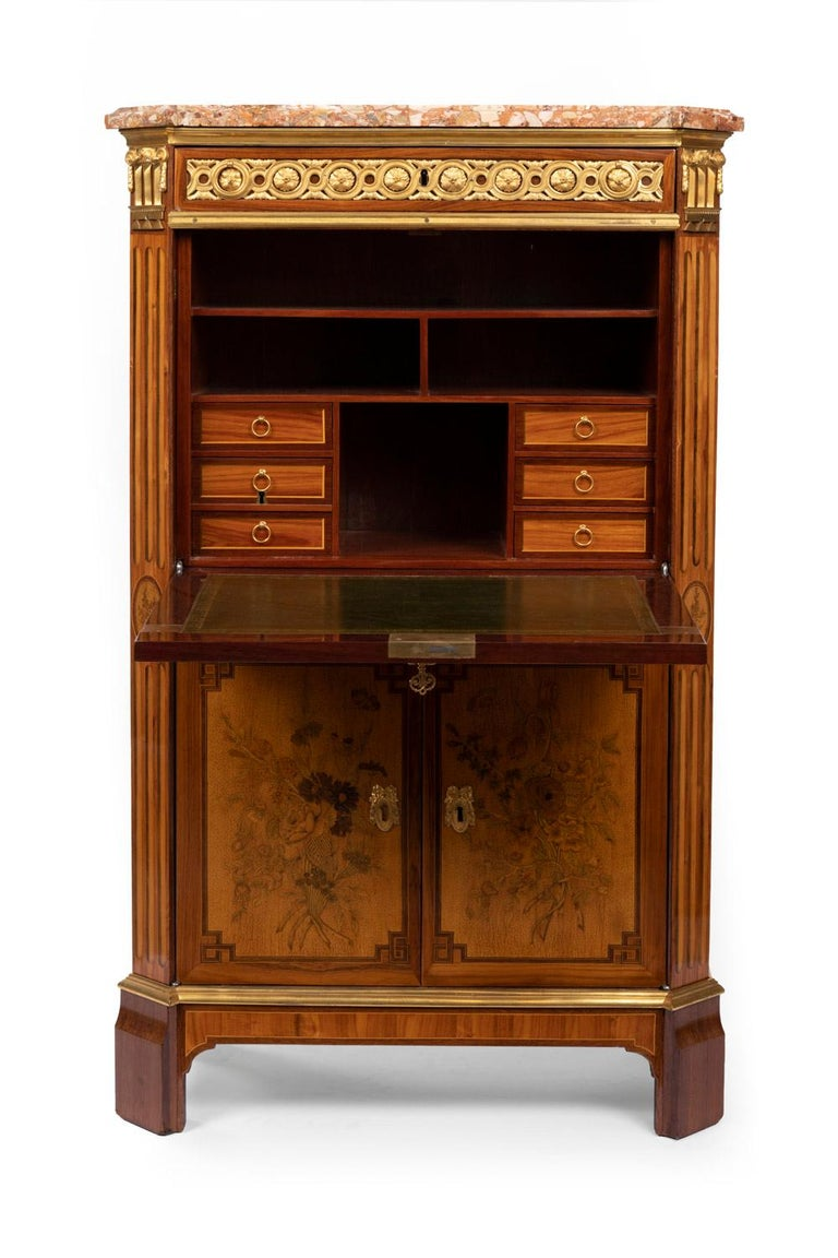 Desk in Flower Marquetry, Louis XVI Period, Stamped C. Topino, 18th Century For Sale 2