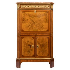 Desk in Flower Marquetry, Louis XVI Period, Stamped C. Topino, 18th Century