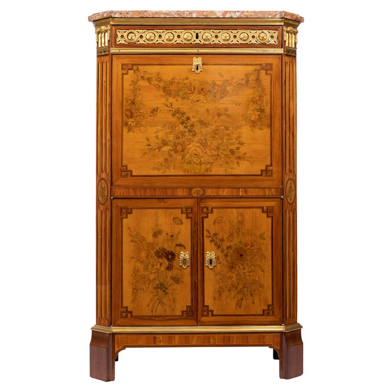 Desk in Flower Marquetry, Louis XVI Period, Stamped C. Topino, 18th Century For Sale