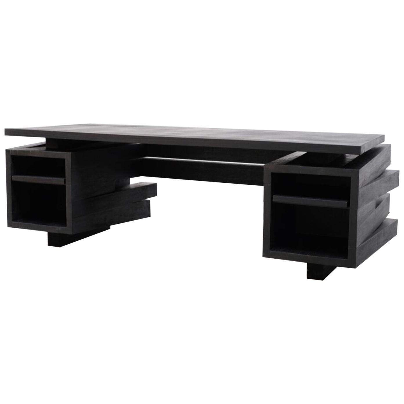 Desk in Iroko Wood by Arno Declercq