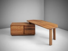 Desk, in Solid Elm, by Pierre Chapo, France, 1960s
