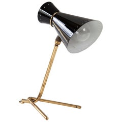 Desk Lamp with Bronze Base and Black Aluminum Shade, 1950s