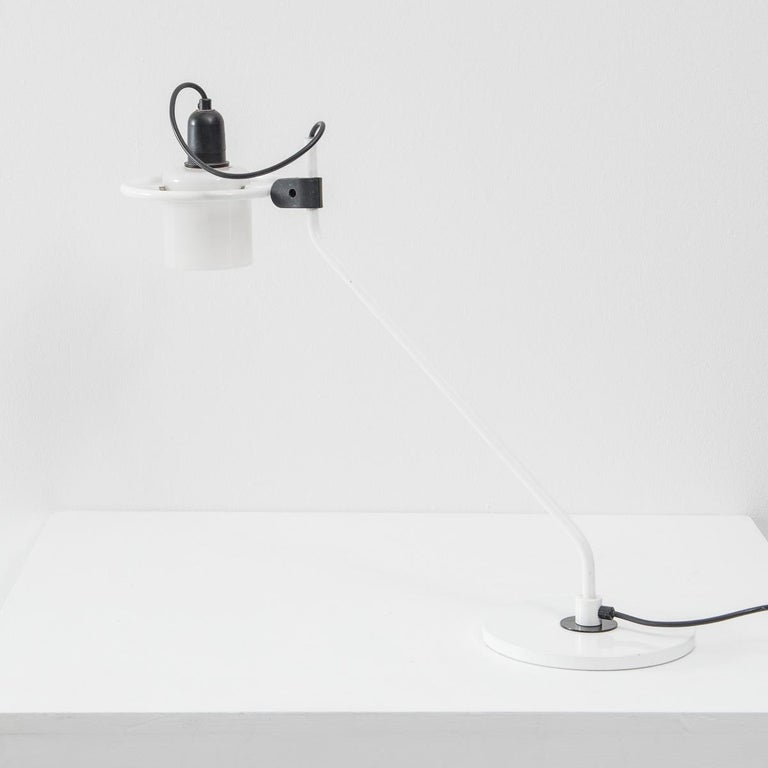 Late 20th Century Desk Lamp with Milk Glass Hood For Sale