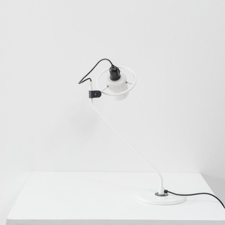 Metal Desk Lamp with Milk Glass Hood For Sale