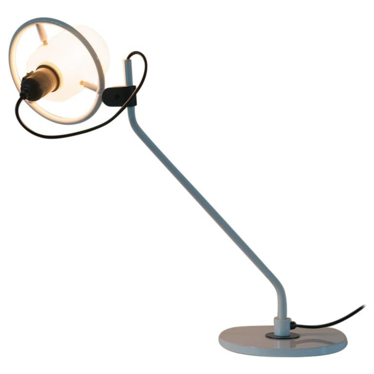 Desk Lamp with Milk Glass Hood For Sale