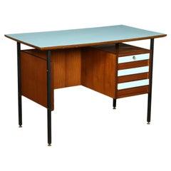 Desk Mahogany Veneer Formica Enamelled Metal, Italy, 1960s