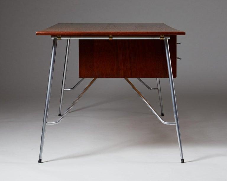 Chrome Desk Model 202 Designed by Börge Mogensen for Söborg Möbelfabrik, Denmark, 1953 For Sale