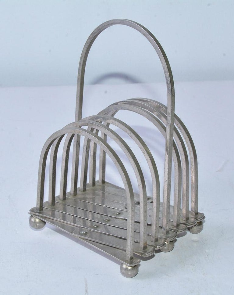 Industrial style modernist metal desk accessory, expandable correspondence, letter or file holder with 6 slots. Great for organizing and filing. Expanded Length - 16