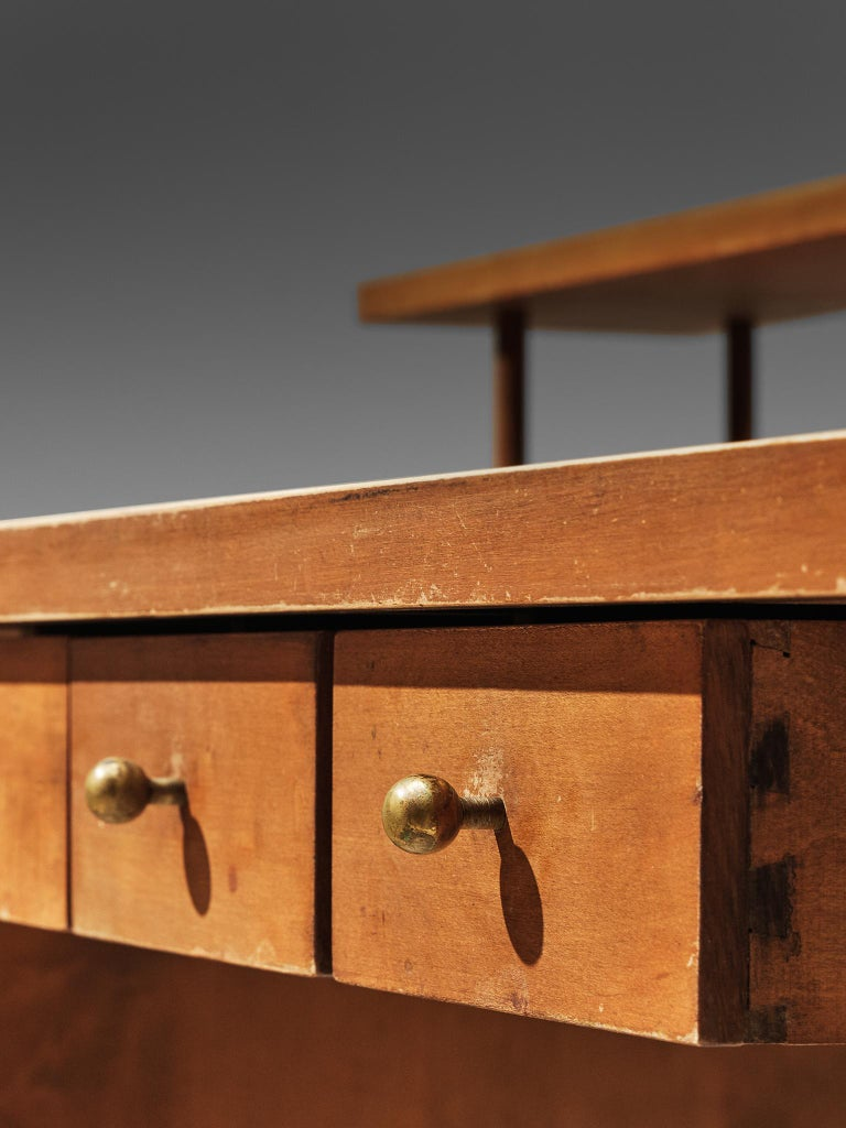 Brass Desk Paul McCobb Desk in Maple, 1950s For Sale
