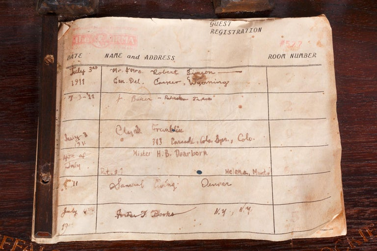 Desk Register from Buffalo Bill's Hotel in the Rockies In Good Condition For Sale In Coeur d'Alene, ID