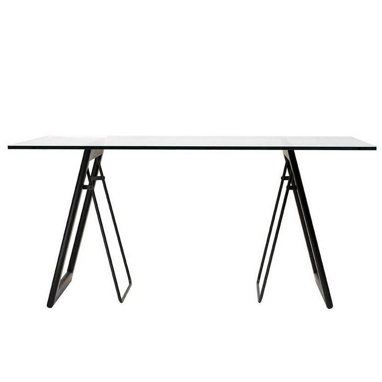 Desk Safari T87 Charcoal Frame and Details, Oak Wenge Legs Minimalist Style