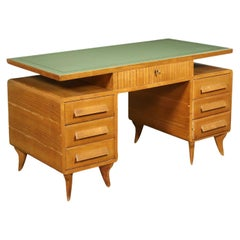 Desk Sessile Oak Veneer Wood Back-Treated Glass, Italy, 1950s