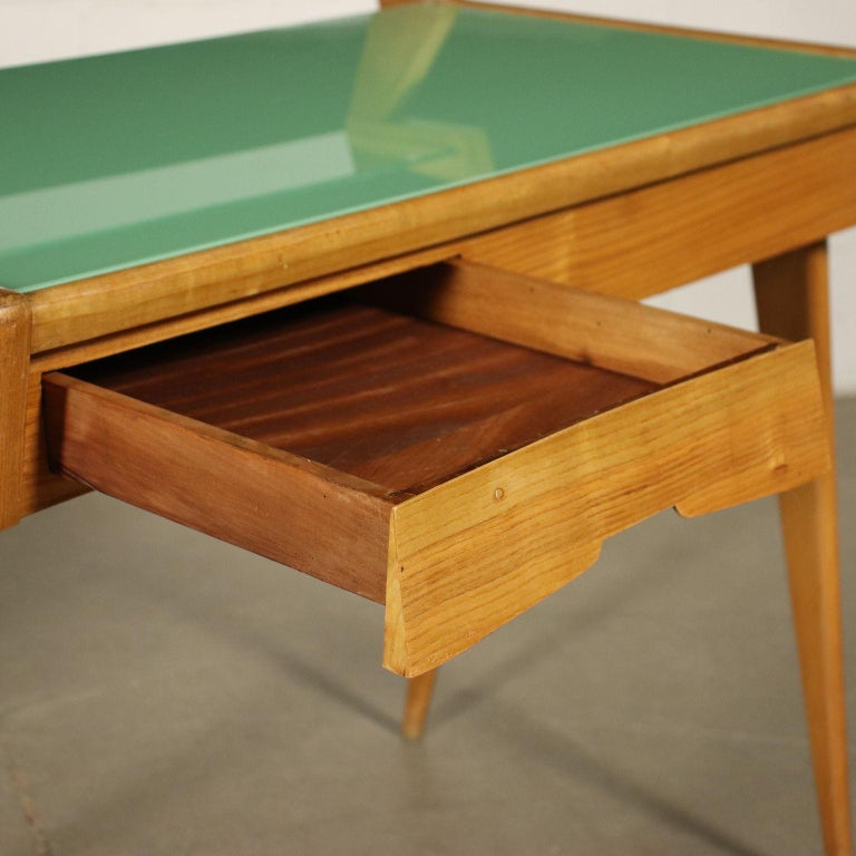 Desk Solid Beech Ash Veneer Back-Treated Clear Glass, Italy, 1950s For Sale 3
