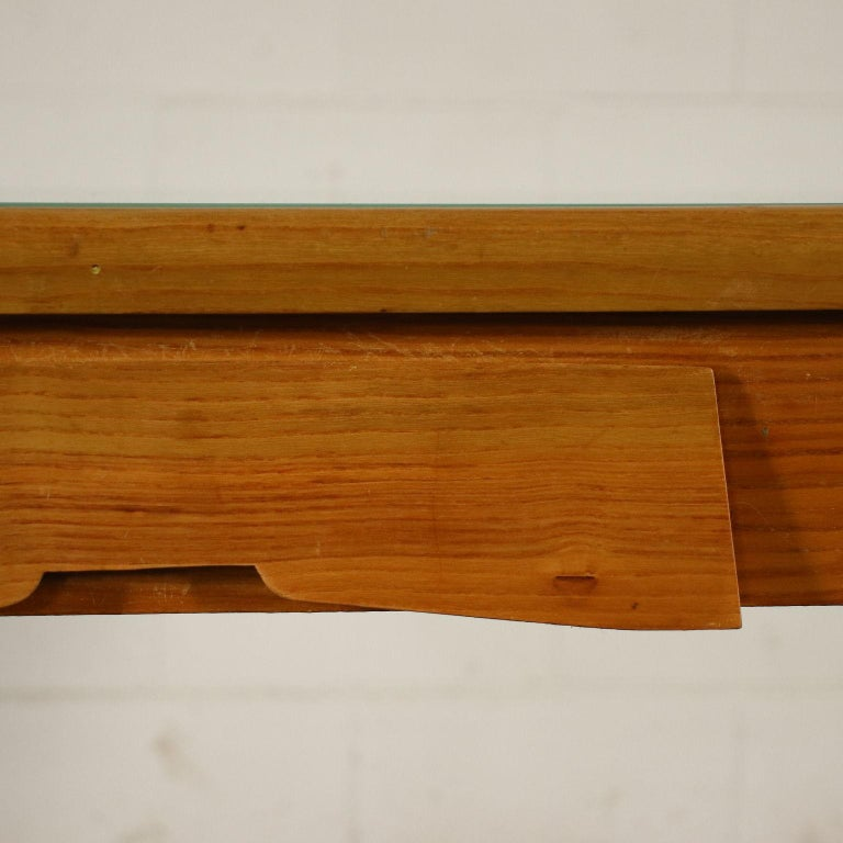 Desk Solid Beech Ash Veneer Back-Treated Clear Glass, Italy, 1950s For Sale 4