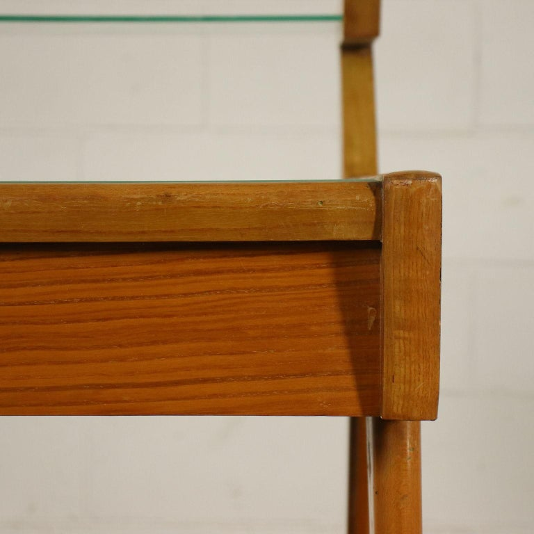 Desk Solid Beech Ash Veneer Back-Treated Clear Glass, Italy, 1950s For Sale 5