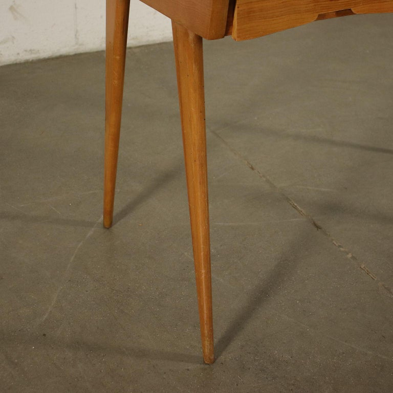 Desk Solid Beech Ash Veneer Back-Treated Clear Glass, Italy, 1950s For Sale 6