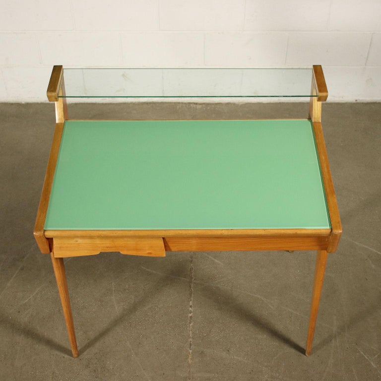 Desk Solid Beech Ash Veneer Back-Treated Clear Glass, Italy, 1950s For Sale 7