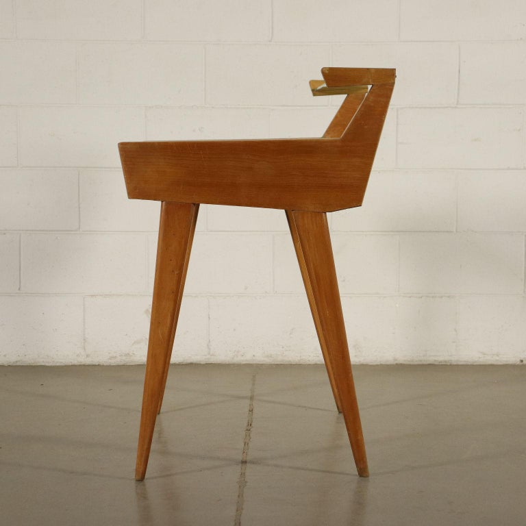 Desk Solid Beech Ash Veneer Back-Treated Clear Glass, Italy, 1950s For Sale 8