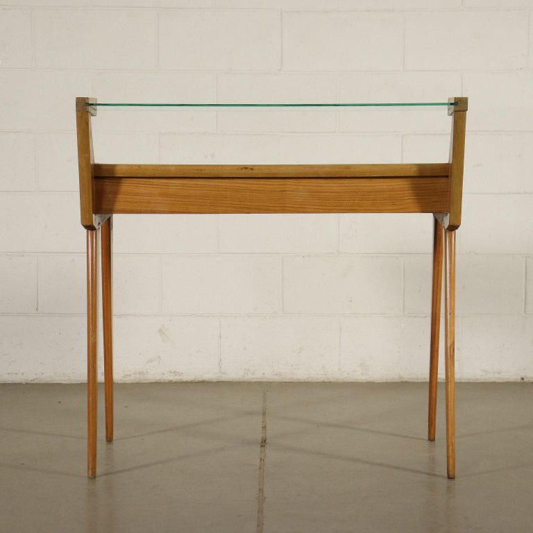 Desk Solid Beech Ash Veneer Back-Treated Clear Glass, Italy, 1950s For Sale 9