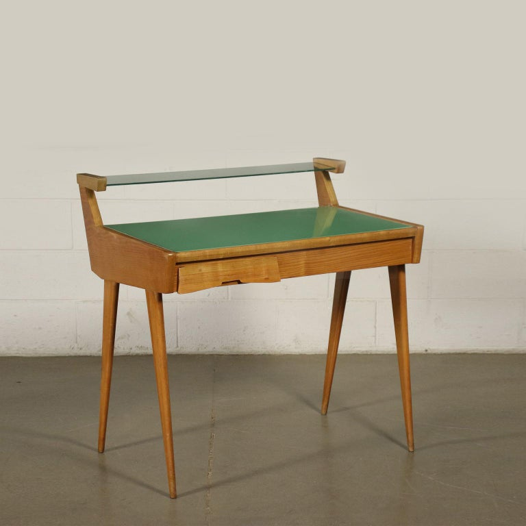 Desk Solid Beech Ash Veneer Back-Treated Clear Glass, Italy, 1950s For Sale 10