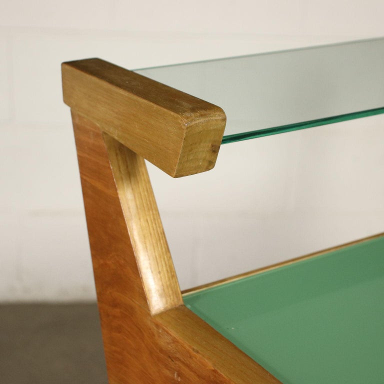 Italian Desk Solid Beech Ash Veneer Back-Treated Clear Glass, Italy, 1950s For Sale